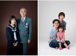 写真:おじいちゃんと一緒の記念写真、ご家族での記念写真