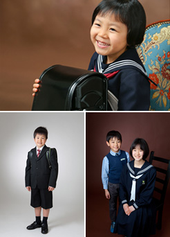 写真:新一年生の写真、ご兄弟と一緒に
