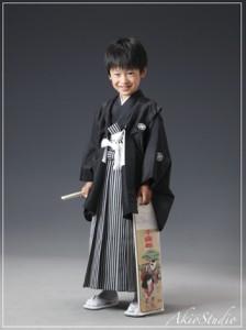 【七五三5歳】シンプルな黒いお着物がよくお似合いでした